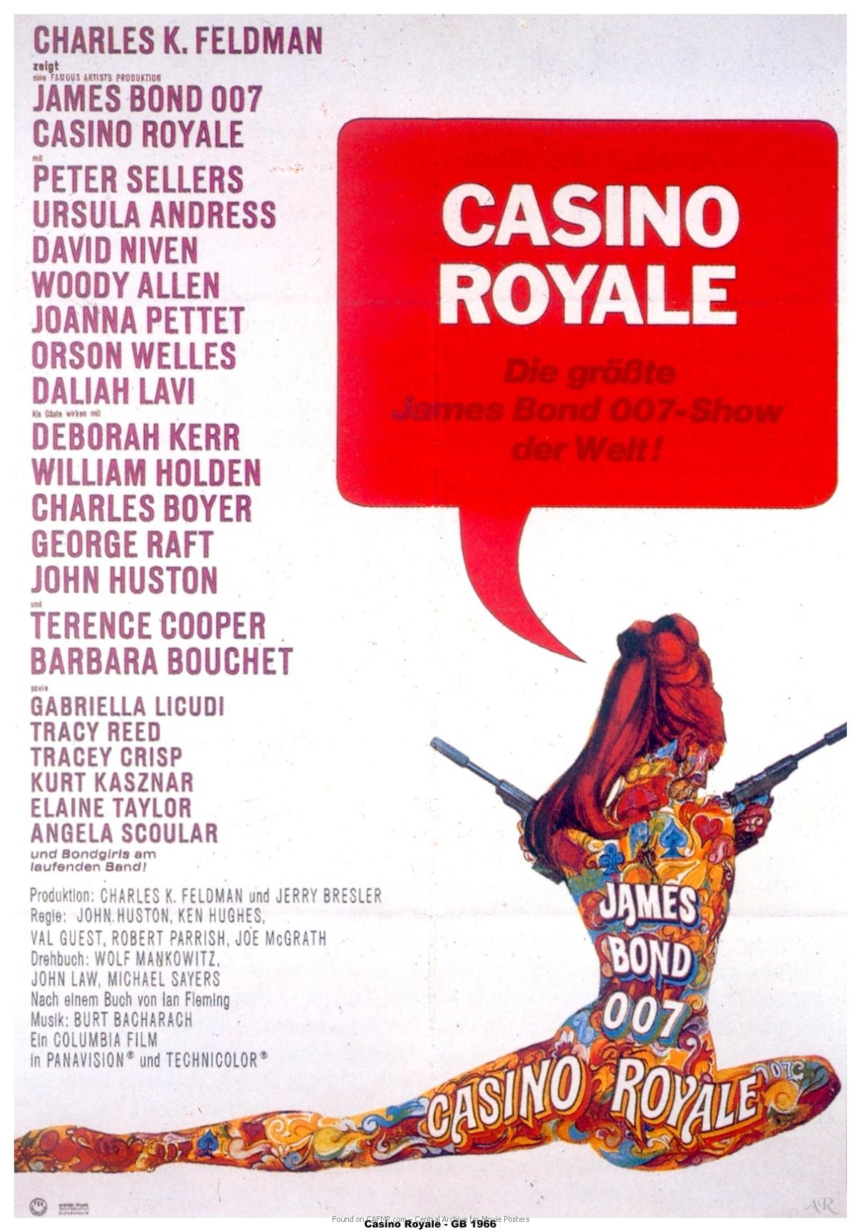 James Bond 007 Casino Royale 1967 Movie Poster Canvas Print David Niven